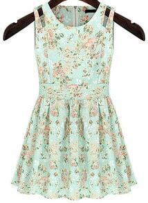 Light Green Sleeveless Floral Pleated Dress