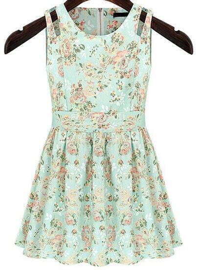 Light Green Sleeveless Dolly Painted Floral Pleated Dress