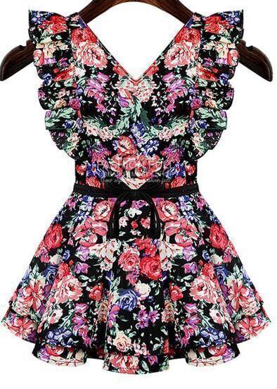 Black V Neck Ruffle Floral Dress