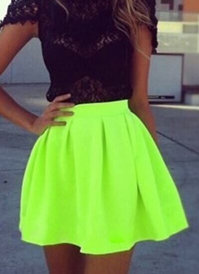 Neon Green Pleated Flare Skirt pictures