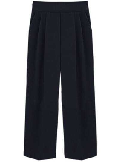 Black Casual Loose Crop Pant