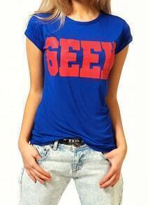Blue Short Sleeve GEEK Print T-Shirt