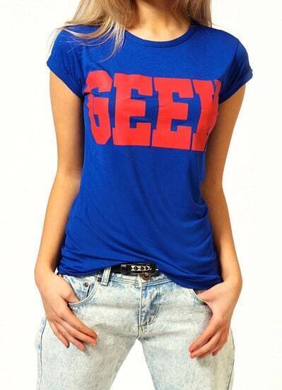 Blue Short Sleeve GEEK Print T-Shirt pictures