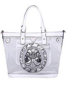 White With Bead Zipper Shoulder Bag