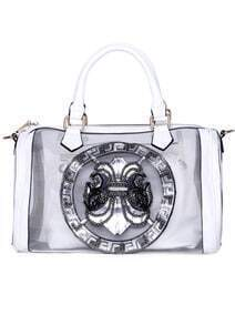 White With Bead Zipper Tote Bag