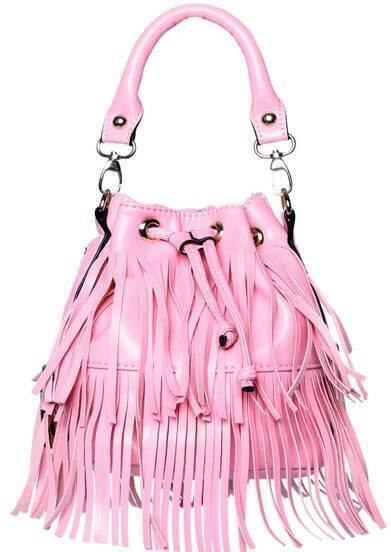 Pink With Tassel Drawstring Shoulder Bag
