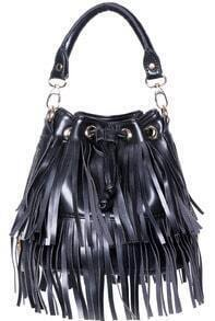 Black With Tassel Drawstring Shoulder Bag