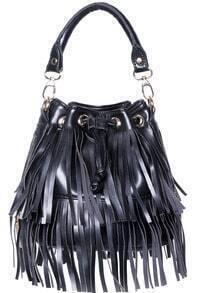 Black With Tassel Drawstring Shoulder Bag