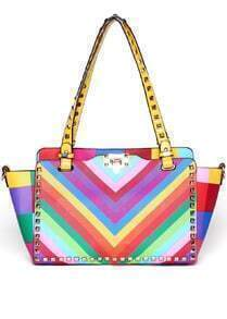 Multicolor With Rivet Buckle Shoulder Bag