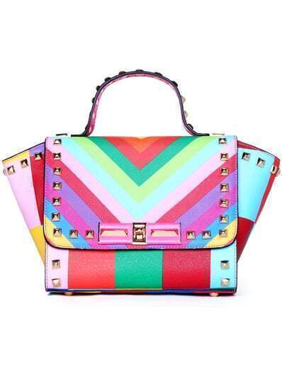Multicolor With Rivet Twist Lock Tote Bag