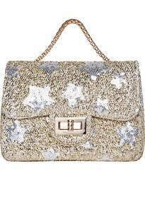 Gold With Sequined Twist Lock Tote Bag