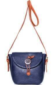 Blue With Button Shoulder Bag