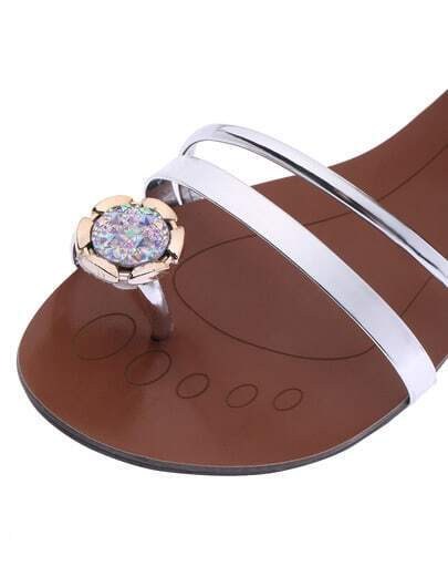flache sandalen mit strass besetzt silber german shein. Black Bedroom Furniture Sets. Home Design Ideas