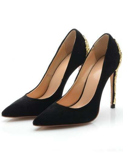 Black Point Toe With Metallic High Heeled Pumps