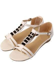 White Ankle Strap Flat Sandals