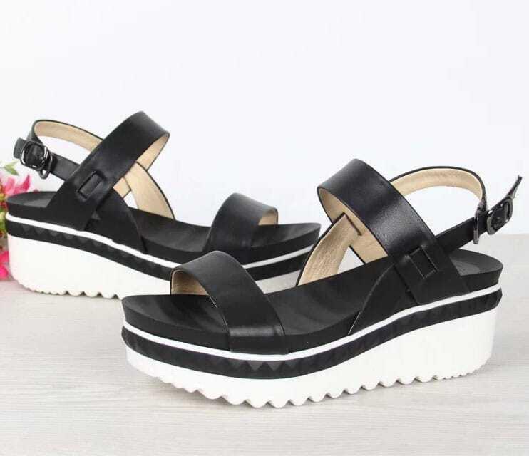 sandalen mit keilabsatz riemen am fusskn chel schwarz. Black Bedroom Furniture Sets. Home Design Ideas