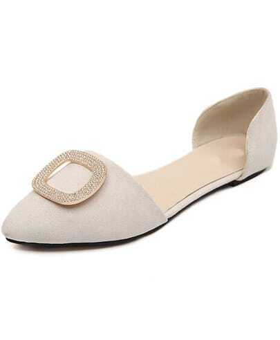 Apricot With Diamond Cutout Side Flat Shoes