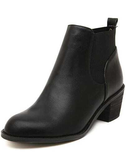 Black Round Toe Mid Heeled Boots