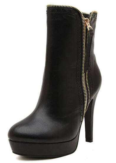Black Platform With Zipper High Heeled Boots