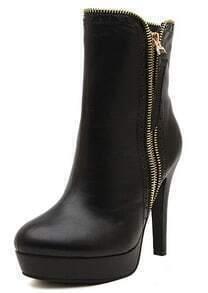 Black Platform With Zipper High Heeled Boots