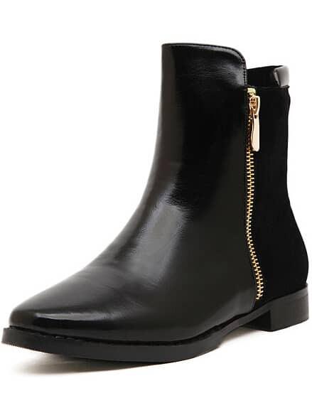 Black With Zipper Flat Boots