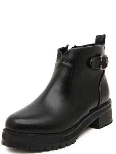 Black Round Toe Buckle Strap Mid Heeled Boots