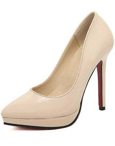Apricot Platform PU High Heeled Pumps
