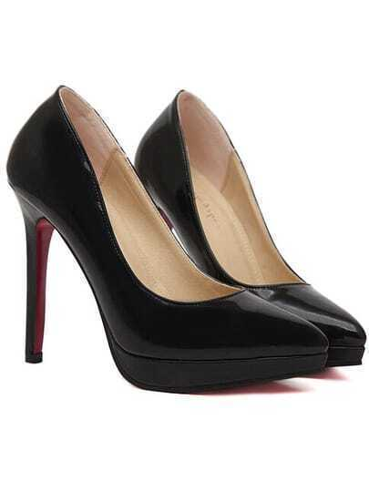 Black Platform PU High Heeled Pumps