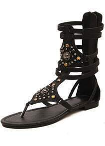 Black Rhinestone Rivet Snakeskin Sandals