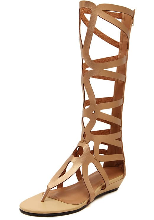 Gold Cut-out Boots Sandals