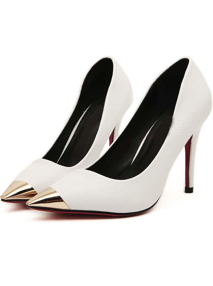 white metal point toe high heel shoes shein sheinside