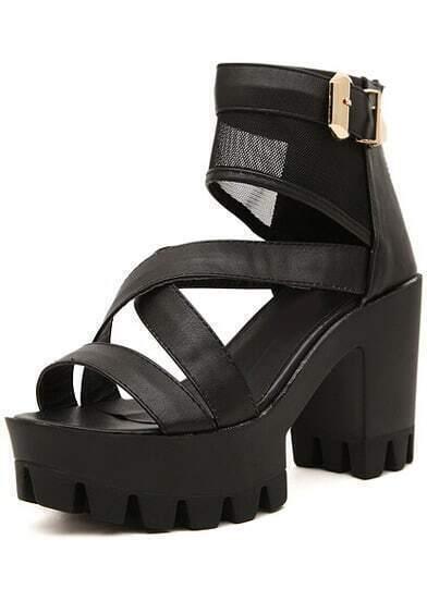 sandalen mit t ll und blockabsatz schwarz german shein. Black Bedroom Furniture Sets. Home Design Ideas