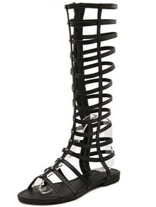 Black Hollow Boots Sandals