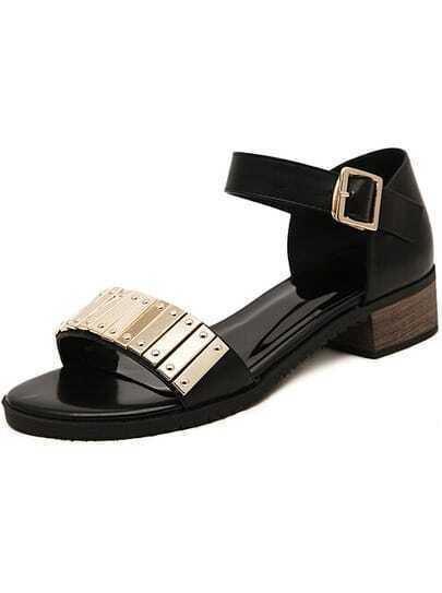 Black Metal Embellished Sandals
