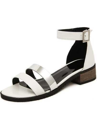 sandalen mit riemen am fusskn chel wei german shein. Black Bedroom Furniture Sets. Home Design Ideas