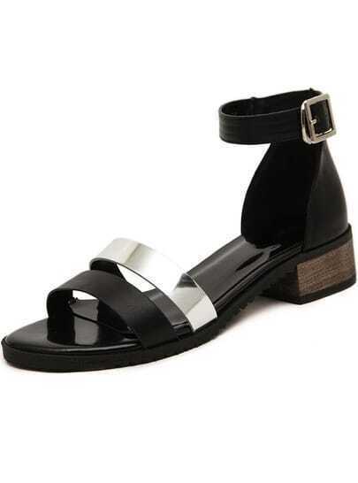 Black Ankle Strap Metal Sandals