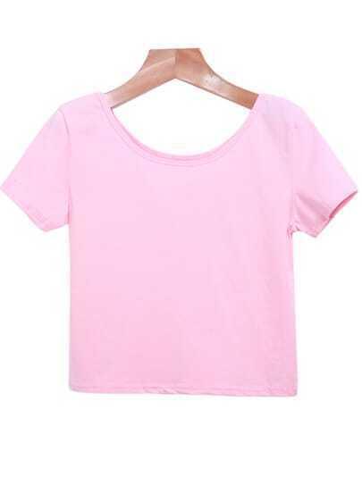 Pink Round Neck Short Sleeve Crop T-Shirt