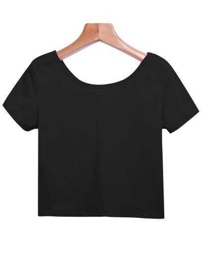 Black Round Neck Short Sleeve Crop T-Shirt