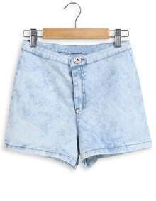 Light Blue Button Denim Shorts