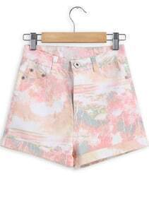 Orange Floral Pockets Denim Shorts