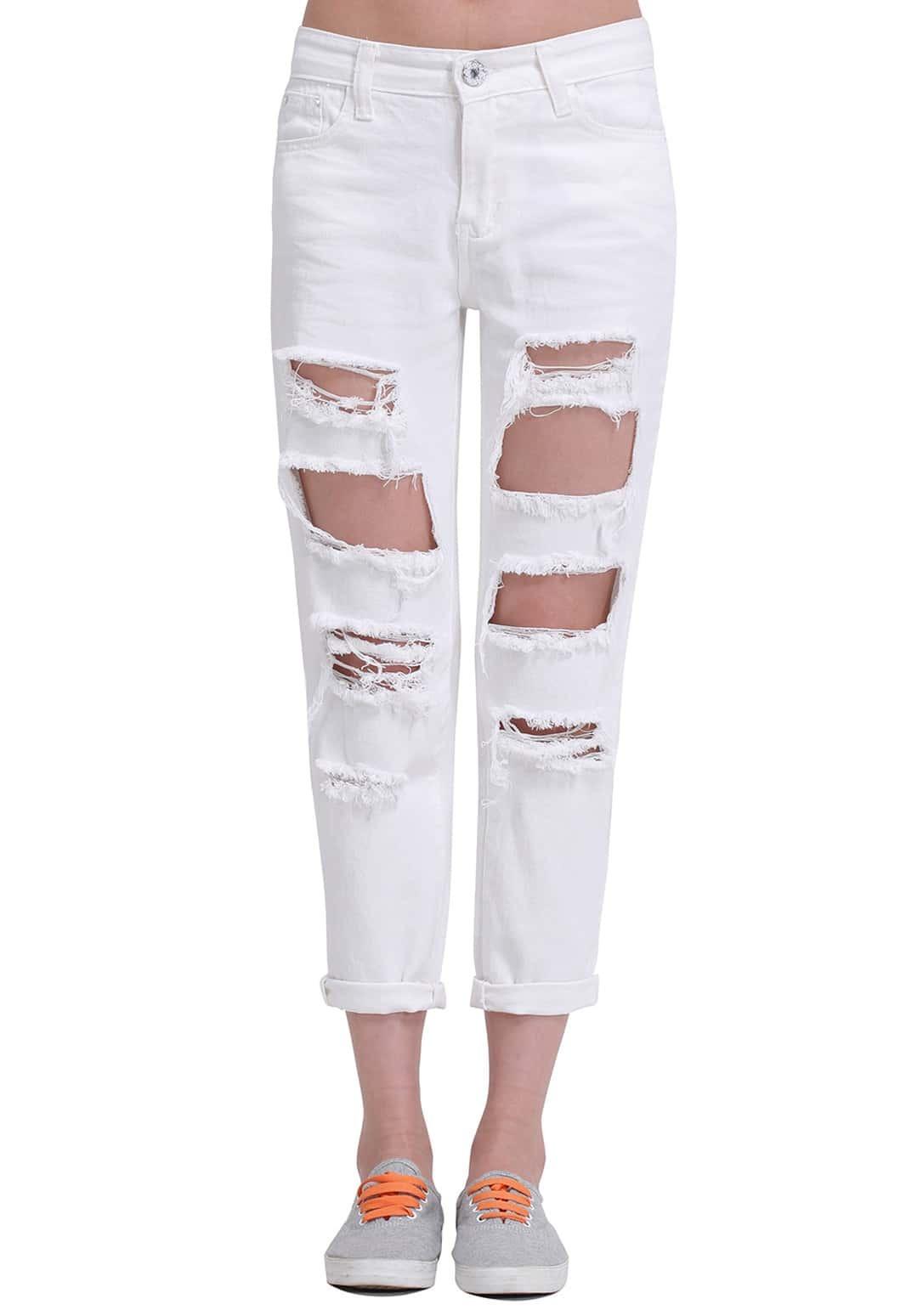 White Ripped Loose Denim Pant