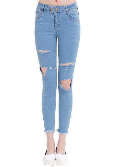 Pantalones vaqueros con rotos-azul