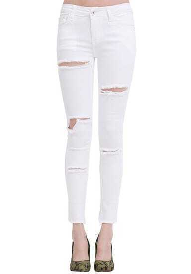 White Slim Ripped Pockets Denim Pant