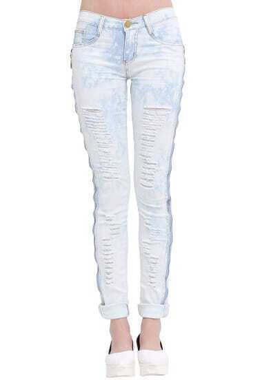 Light Blue Cut-out Slim Denim Pant