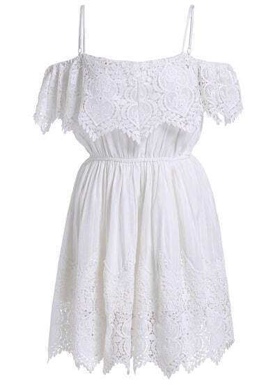 White Spaghetti Strap Floral Crochet Dress