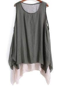 Grey Sleeveless Double Layers Loose Dress