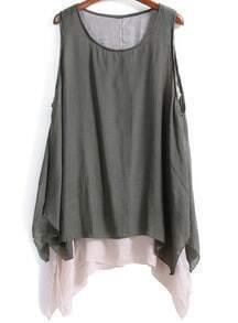 Grey Sleeveless Double Layers Loose Dress