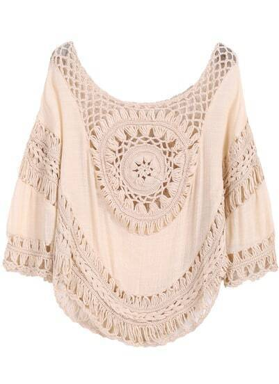 Khaki Hollow Loose Crop Blouse