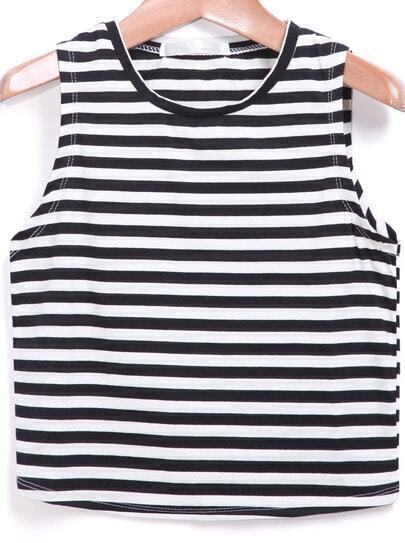 Black White Round Neck Striped Tank Top