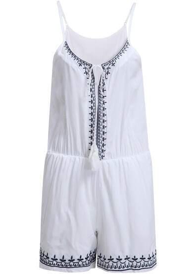 White Spaghetti Strap Embroidered Jumpsuit